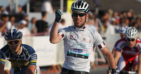 Mark Cavendish: celebrating victory in stage four of the Tour of Qatar 2013