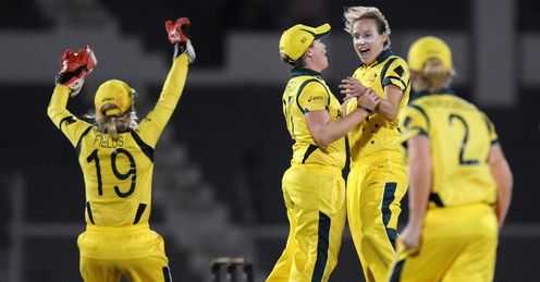 Ellyse Perry of Australia celebrates the wicket of Stafanie Taylor of West Indies
