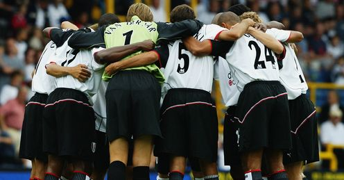 Fulham v Middlesbrough, August 2003: there are seven Frenchmen in this huddle!