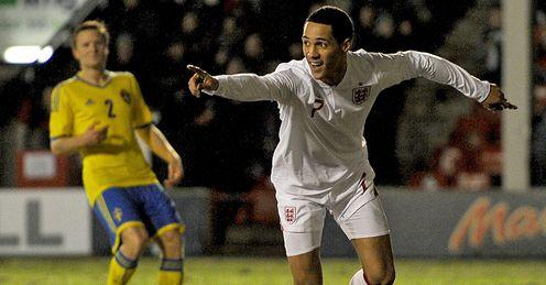 Thomas Ince goal celeb England Under-21s v Sweden U21s