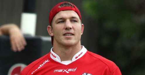 Jean Deysel in red Sharks jersey