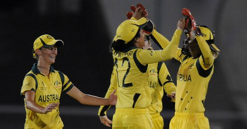 Lisa Sthalekar of Australia celebrates the wicket of Deandra Dottin of West Indies