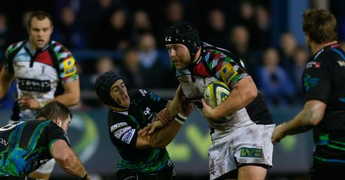Mark Lambert of Harlequins charges upfield
