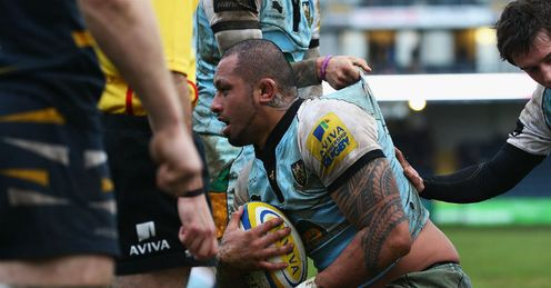 Samu Manoa try Worcester v Northampton