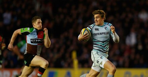 Toby Flood scores try for Leicester Tigers v Harlequins