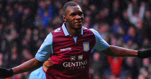 Christian Benteke: converted from the spot to put Villa on track for a 2-1 victory