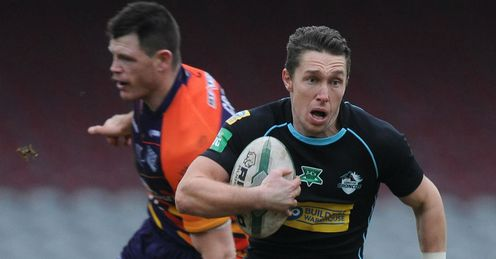 Luke Dorn London Broncos running with the ball against Widnes Vikings