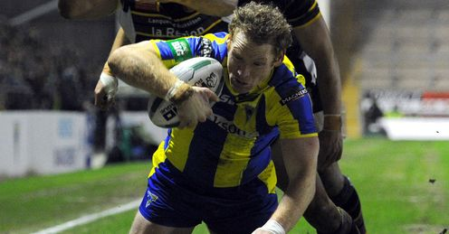 Joel Monaghan Warrington Wolves scoring a try against Catalan Dragons