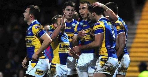 Joel Moon Leeds Rhinos congratulated after scoring against Salford