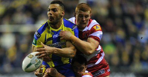 Ryan Atkins Warrington tackled by Wigan duo Jack Hughes and Matty Smith