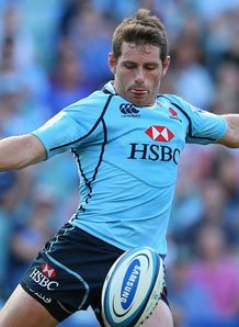 Bernard Foley kicking for Waratahs