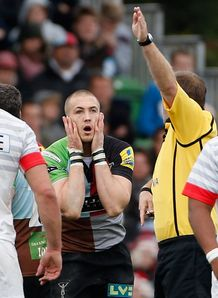 Mike Brown of Harlequins looks on in horror