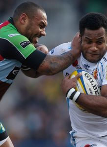 Harlequins v Exeter Sireli Naqelevuki of Exeter is tackled by Jordan Turner Hall of Quins