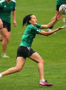 Tyla Nathan Wong catches the ball during a New Zealand Women s Sevens training session