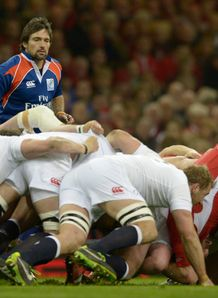 referee Steve Walsh scrum collapses Wales England