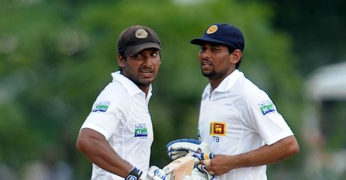 Kumar Sangakkara left and Tillakaratne Dilshan Sri Lanka v Bangladesh 1st Test day 5 Galle