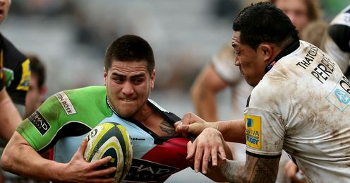 Ben Botica Harlequins tackled by Anthony Perenise of Bath LV= Cup semi-final