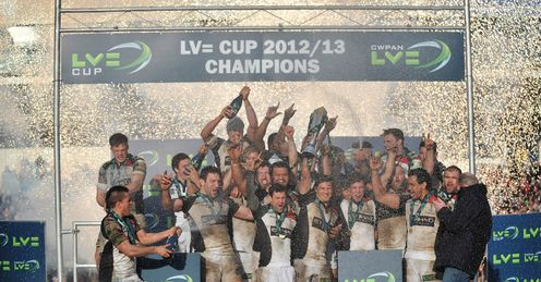 Harlequins Team celebrate winning the LV Cup Final during the LV Cup Final