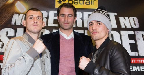 Derry Mathews and Anthony Crolla: Their fight is one of many live on Sky Sports this Saturday night (Image: Mark Robinson)