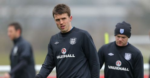 Michael Carrick and Wayne Rooney England Training