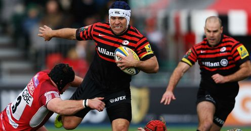 Sarries hooker Schalk Brits on the charge