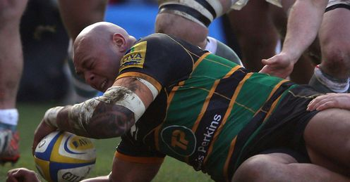 Soane Tongauiha Northampton scoring a try against London Irish