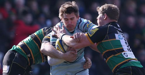 Toby Flood Leicester Tigers running at Northampton Saints