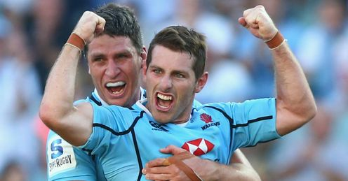 Bernard Foley Waratahs celebrating winning kick against Blues