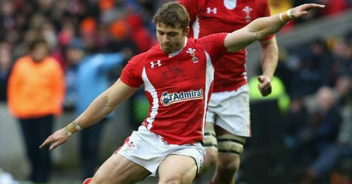 Leigh Halfpenny Wales kicking for goal against Scotland Six Nations