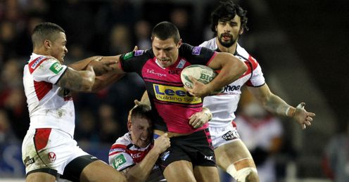 Ryan Hall Leeds Rhinos tackled by St Helens players Super League