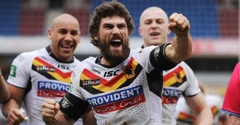 Jarrod Sammut Bradford Bulls celebrating a try against Huddersfield Giants