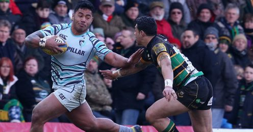 Manu Tuilagi Leicester Tigers taking on George Pisi of Northampton Saints