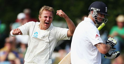 Neil Wagner New Zealand celebrating wicket of Kevin Pietersen during first Test Dunedin