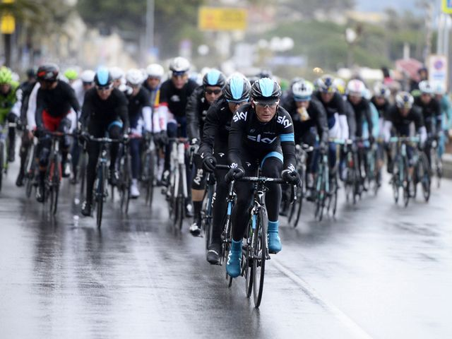 Team Sky drove hard on the front of the peloton after the resumption of the race