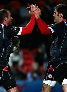 Benoit Baby and Dimitri Yachvili Biarritz v Gloucester Amlin Challenge Cup quarter-final Kingsholm