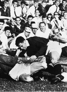 1962 - British Lions Dewi Bebb left tackles South Africas Francois Roux during the second Test in Durban