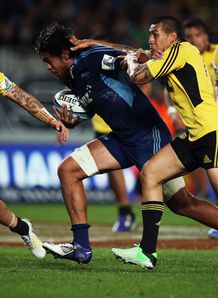 Blues flanker Steven Luatua on a run