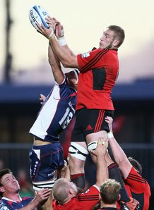 Crusaders lock Luke Romano taking a lineout
