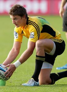 Hurricanes back Beauden Barrett lining up a kick