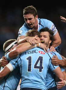 Waratahs celebrate with Cam Crawford