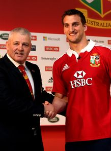 Warren Gatland with Sam Warburton at Lions announcement