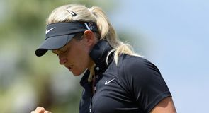 Norway's Suzann Pettersen shares the first-round lead after a four-under-par 68.