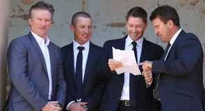 Haddin and Clarke (centre) hope to replicate the Ashes successes of Steve Waugh (L) and Mark Taylor (R)