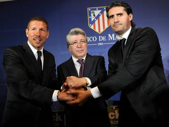 Diego Simeone, Enrique Cerezo Jose and Luis Perez Caminero