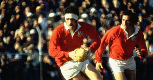 Lions flanker Mervyn Davies runs with the ball Mandatory Credit: Allsport