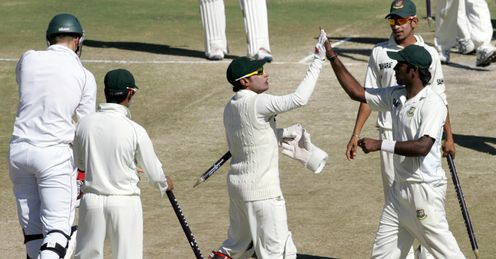 Mushfiqur Rahim Bangladesh skipper celebrates win over Zimbabwe 2nd Test Harare