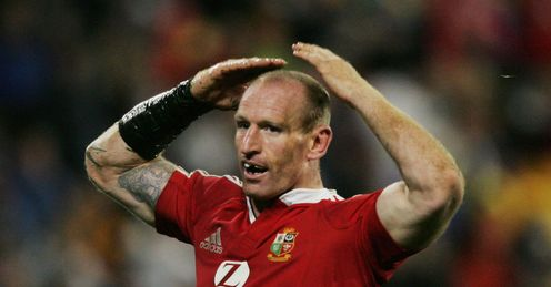 2005 - Gareth Thomas the British and Irish Lions wing celebrates after scoring against Wellington