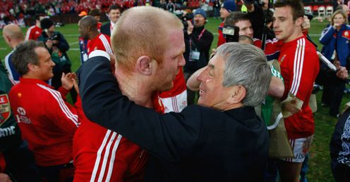 2009 - British and Irish Lions captain Paul O Connell is congratulated by coach Ian McGeechan after the third Test win against South Africa