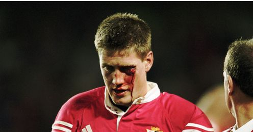 2001 - Ronan OGara of the British Lions leaves the field after he was hit by Duncan McRae of the Waratahs
