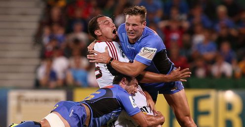 Israel Dagg tackled by Ed Stubbs in Crusaders Force game